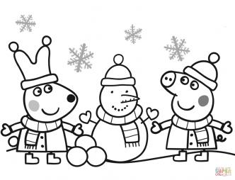 Пеппа и Ребекка лепят снеговика