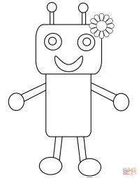 Забавный робот с цветочком