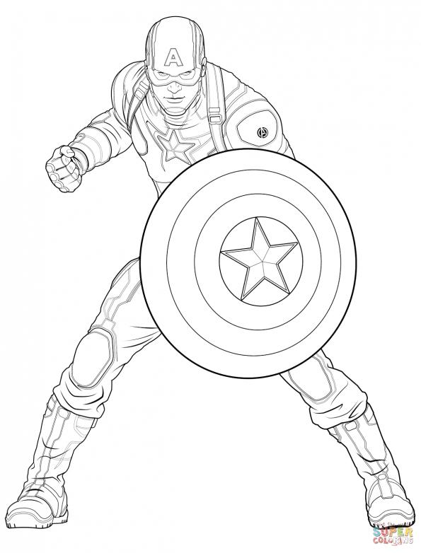 Раскраска Капитан Америка из Мстителей, распечатать или ...