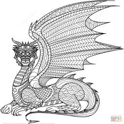 Дракон в технике дзентангл