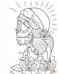 Череп девушки ко Дню мёртвых