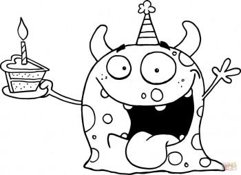 Счастливый монстр с именинным тортом