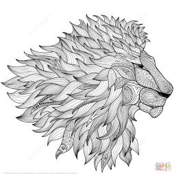 Лев в технике дзентангл