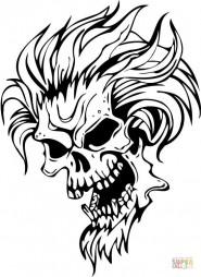 Череп дьявола с волосами