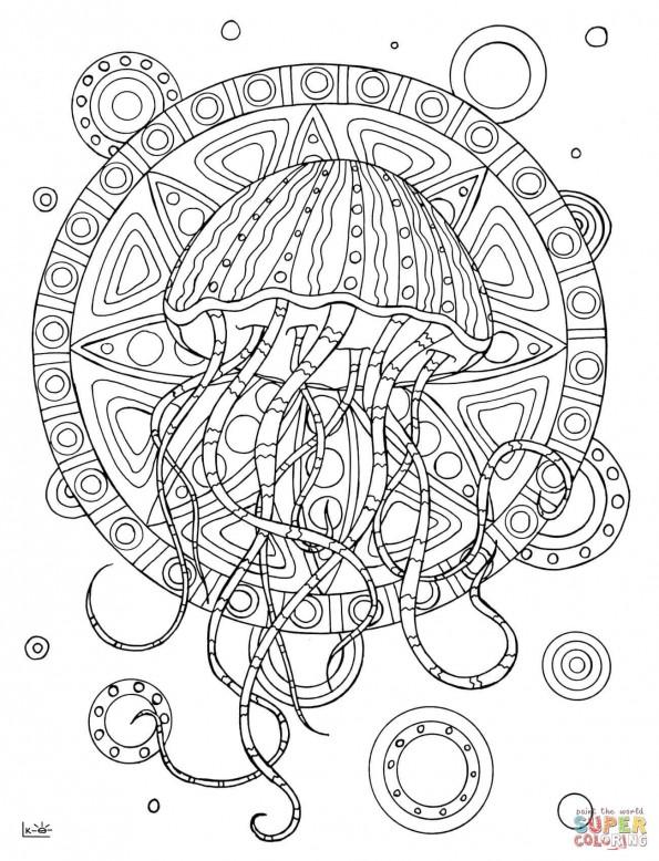 раскраска медуза в этническом узоре распечатать или скачать