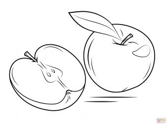 Целое яблоко и половинка