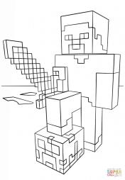 Стив с алмазным мечем из Майнкрафт