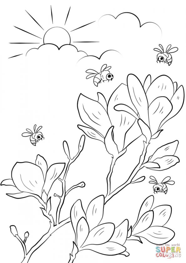 Раскраска Весенние цветы, распечатать или скачать из ...